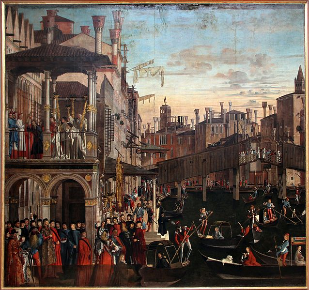 Venice Accademia_-_Miracle_of_the_Holy_Cross_at_Rialto_by_Vittore_Carpaccio - fonte Wikipedia.jpg