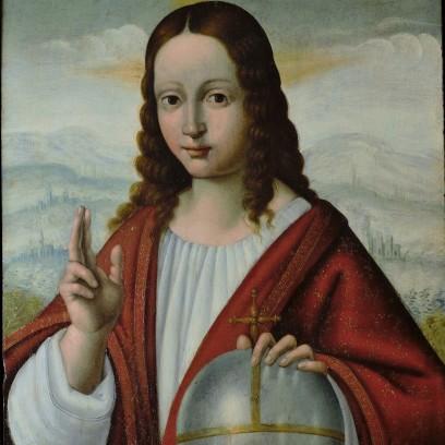 03 Salaì - Cristo come Salvator Mundi foto quadro LEONARDO DA VINCI a Venezia Mostra Palazzo Lolin San Marco 2893 Accademia Canal Grande - Fondazione Levi